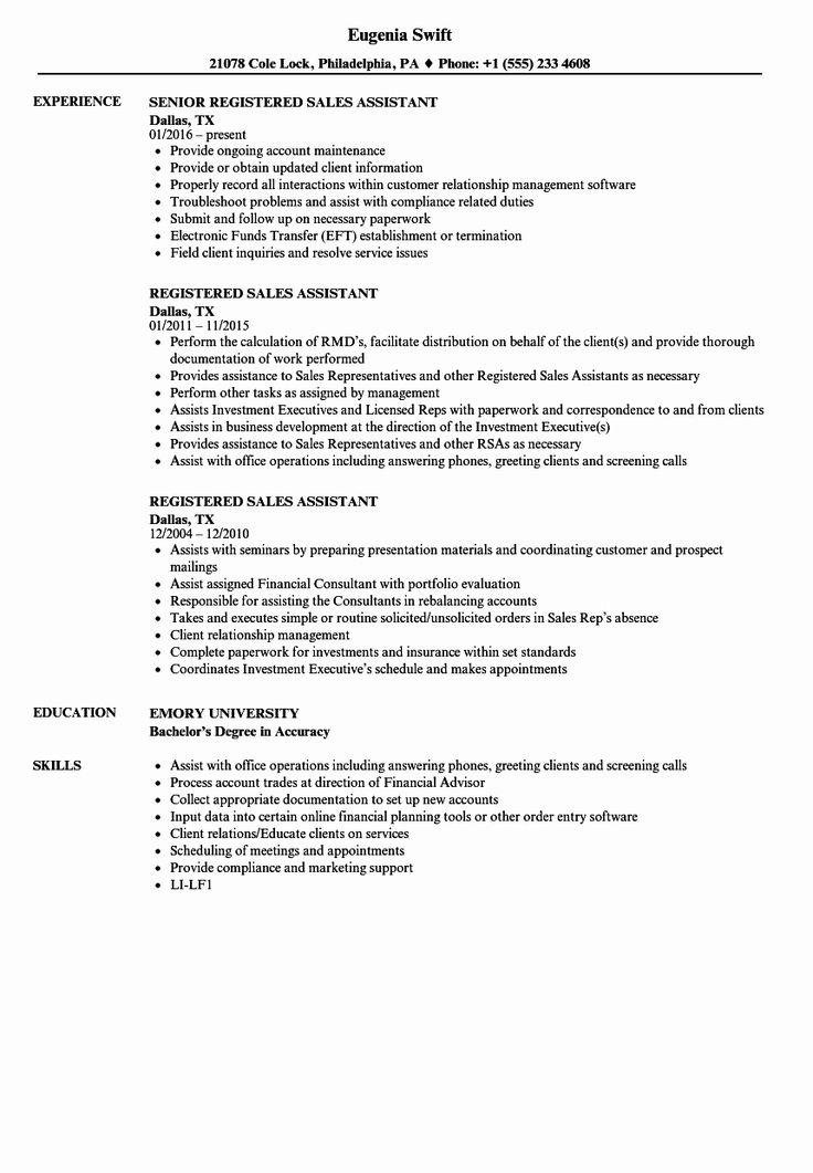 Concierge Job Description Resume Best Of Registered Sales