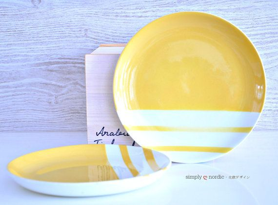 Vintage Retro Serving Two Plates Yellow by SimplyLoveNordic, €40.00