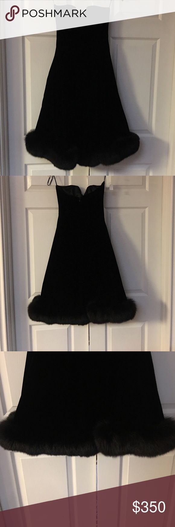 Escada classic black velvet strapless dress size 6 Classic Escada black velvet fox trimmed trimmed strapless dress size 6... Audrey Hepburn style glamour for sure!! escada Dresses Strapless