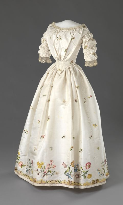 Dress, Ms. John Lumholtz (Oslo, Norway): ca. second half of 1700's (embroidery), 1840, silk, hand-embroidered with silk thread, lace, cotton, whalebone, silk ties.