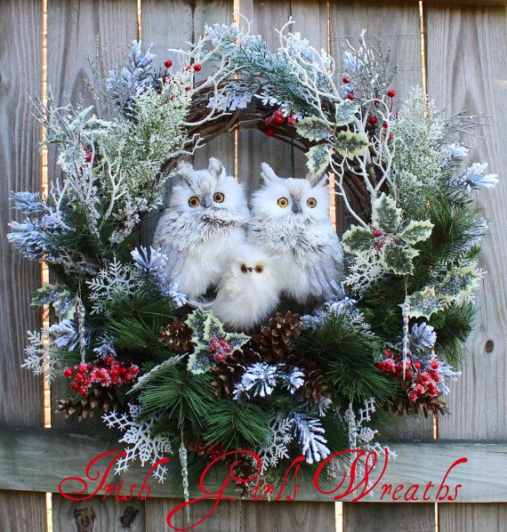 Large Woodland Winter Owl Family Christmas Wreath,  by IrishGirlsWreaths