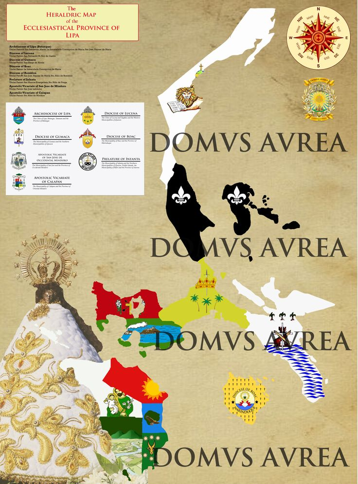 THE HERALDRIY MAP OF THE ECCLESIASTICAL PROVINCE OF LIPA (HERALDRY MAP # 6) Composed of the Archdiocese of Lipa, the Dioceses of Lucena, Gumaca, Boac and Romblon, the Prelature of Infanta and the Apostolic Vicariate of Calapan and San Jose de Mindoro (Desgned by: Kendrick Ivan Panganiban | DOMVS AVREA 2016 (Personal Note: One of the hardest layouts I have made in this personal project of mine. The image is big and there are very intricate details.)