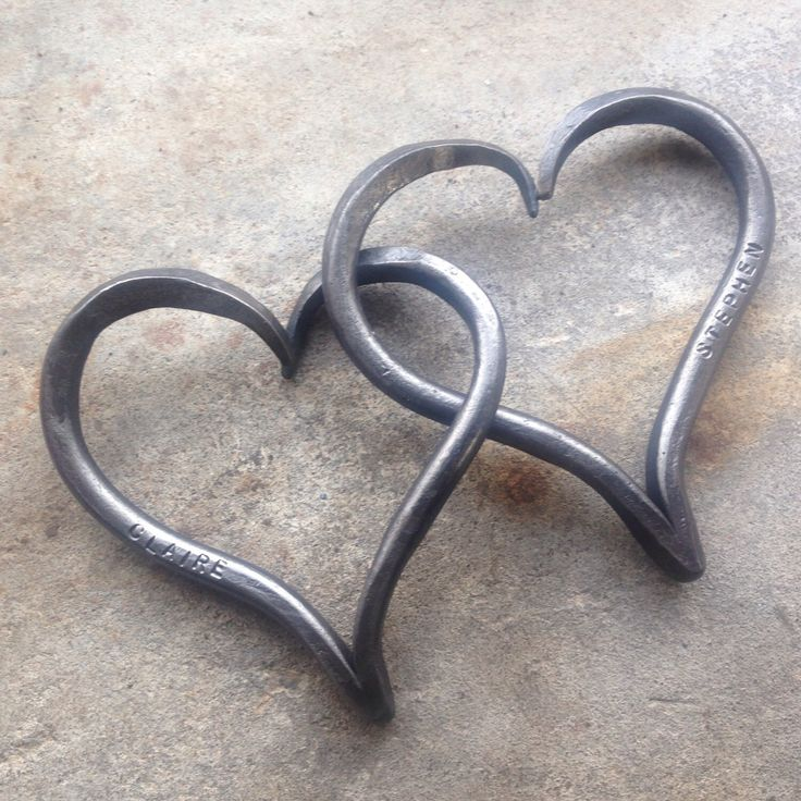 6th Wedding Anniversary Gift, Iron Anniversary, Pair of Interlinked Iron Hearts Personalized, His and Hers Hearts by AmmoniteIronwork on Etsy https://www.etsy.com/listing/240612852/6th-wedding-anniversary-gift-iron
