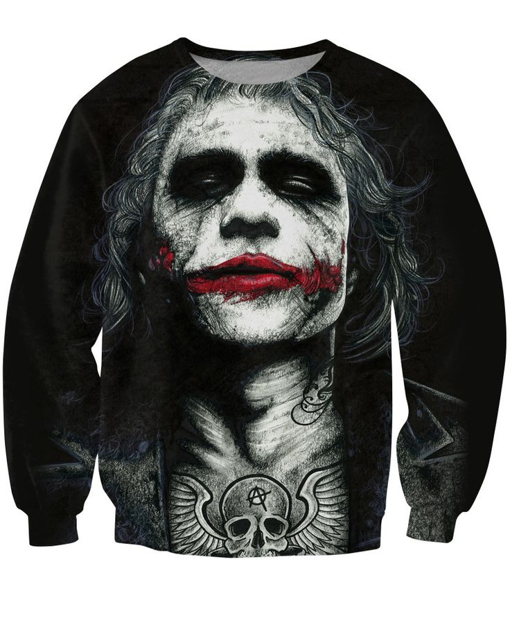 Inked Joker Sweatshirt badass tattooed Joker Dark Knight 3d Sweats Women Men Batman DC Comics Superhero Jumper Outfits Tops