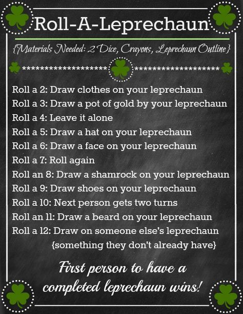 Roll-A-Leprechaun Game ~ Fun St. Patricks Day Activity! (she: Brooke) - oneshetwoshe.com