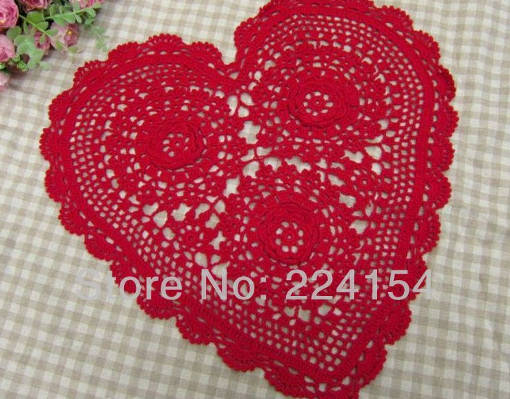 Aliexpress.com : Buy Red heart doilies handmade crochet doily for wedding decoration FREE SHIPPING!!! from Reliable Red doilies suppliers on Handmade Shop $8.80