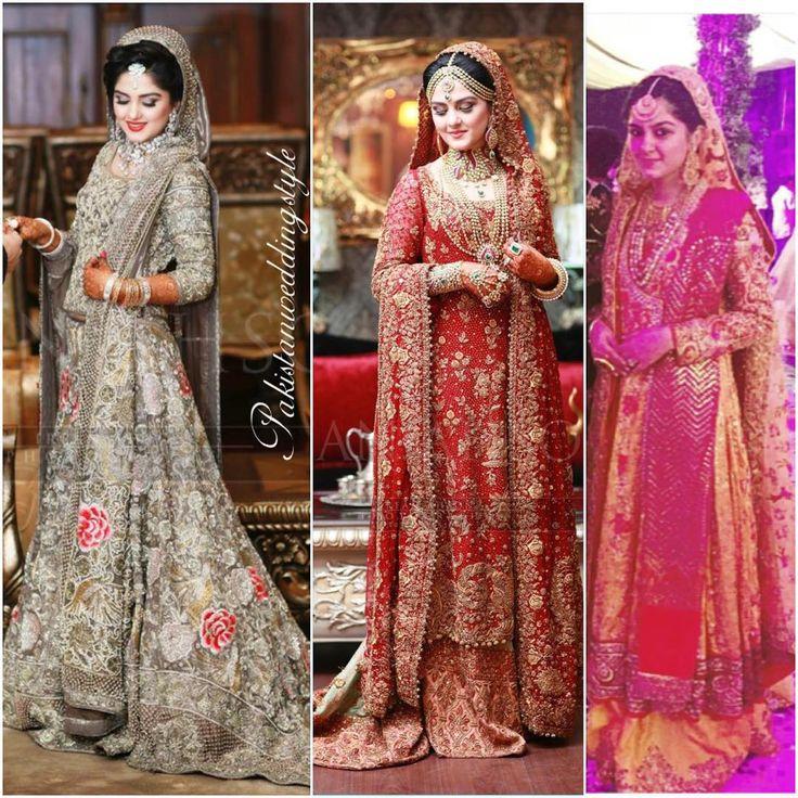 """Wow! How breathtakingly gorgeous does Rabia look on her big days?  Wearing Farah Talib Aziz on mehendi, Bunto Kazmi on baraat and Honey Waqar on walima.…"""