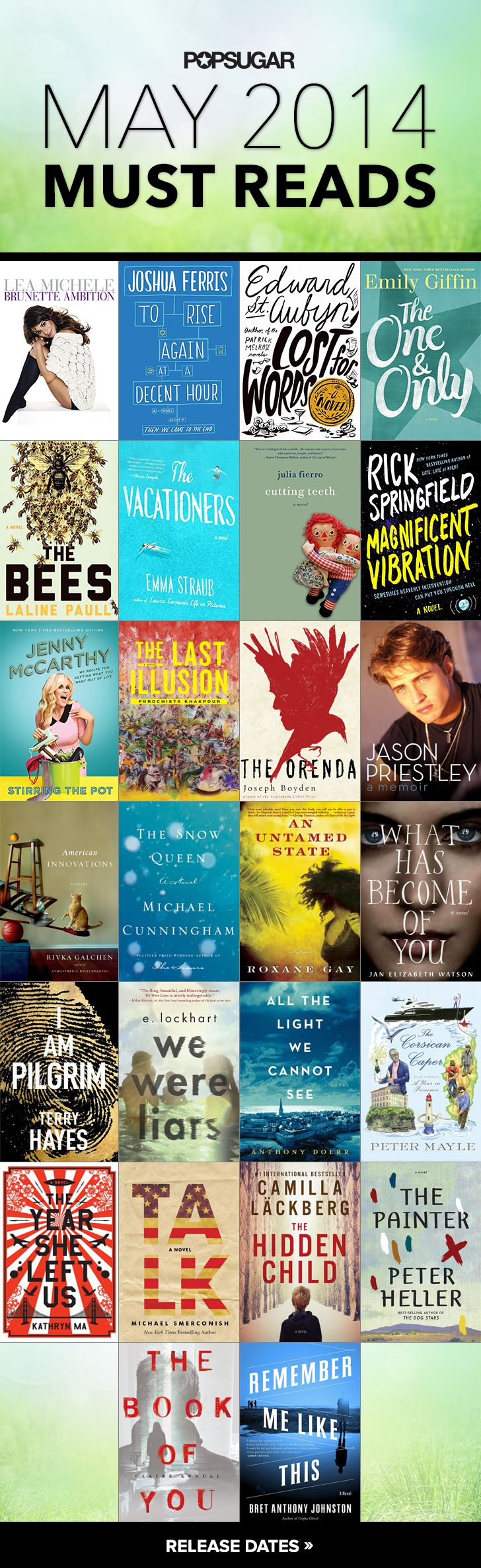 May: Must Reads via Popsugar, hmmm, I've read the Jenny McCarthy book, but wasn't impressed, guess I'll move on to these others