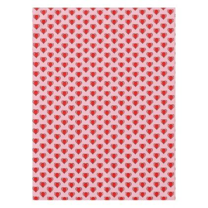 Editable Chic Red Heart with on Pink Tablecloth - valentines day gifts gift idea diy customize special couple love