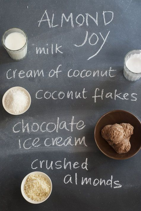Almond Joy Milkshake - 1 cup milk, 1/2 cup cream of coconut (coco lopez), 1/2 cup coconut flakes, 2 cups creamy chocolate ice cream, 1/2 cup crushed almonds... In a food processor put 1/2 cup almonds. process till finely chopped and set aside. In a blender, pour milk, coconut cream, 1/4 cup of the ground almonds, coconut flakes,  ice cream. Mix for 5 minutes. Pour in large glasses and top with a spoonful or two of crushed almonds.
