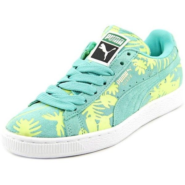 Puma Classic Tropicalia Women Sneakers ($45) ❤ liked on Polyvore featuring shoes, sneakers, green, puma footwear, green shoes, green suede shoes, suede sneakers and puma trainers