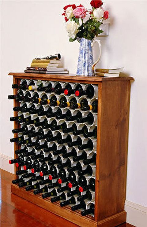 Learn how to make an affordable wine rack out of a bookcase and PVC pipe from Better Homes and Gardens.
