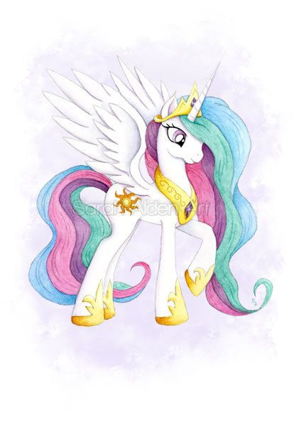 Mijn kleine Pony Art prinses Celestia Print aquarel MLP meisjes muur Decor Unicorn Pegasus Illustration - Sarah Alden