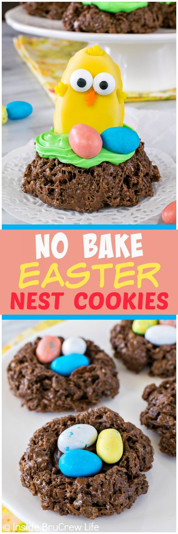 No Bake Easter Nest Cookies - adding fun colored candies and chicks to this easy cookie makes this the perfect recipe for spring parties!