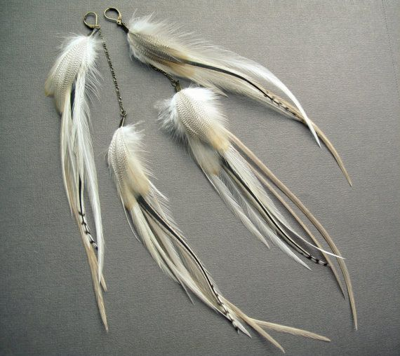 White Feather Earrings Extra Long Feather Earrings by Chrysalism
