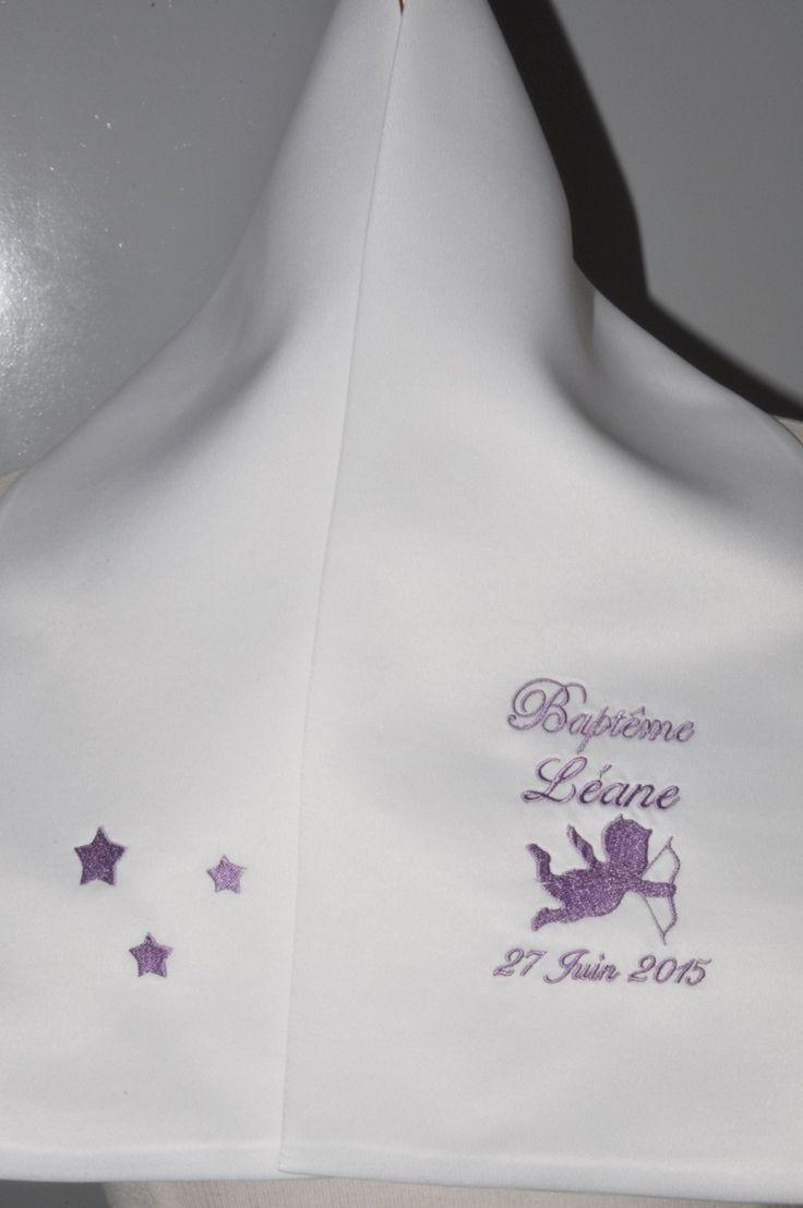 écharpe étole de baptême ange et étoiles personnalisée brodée pour garçon ou fille : Mode Bébé par lbm-creation
