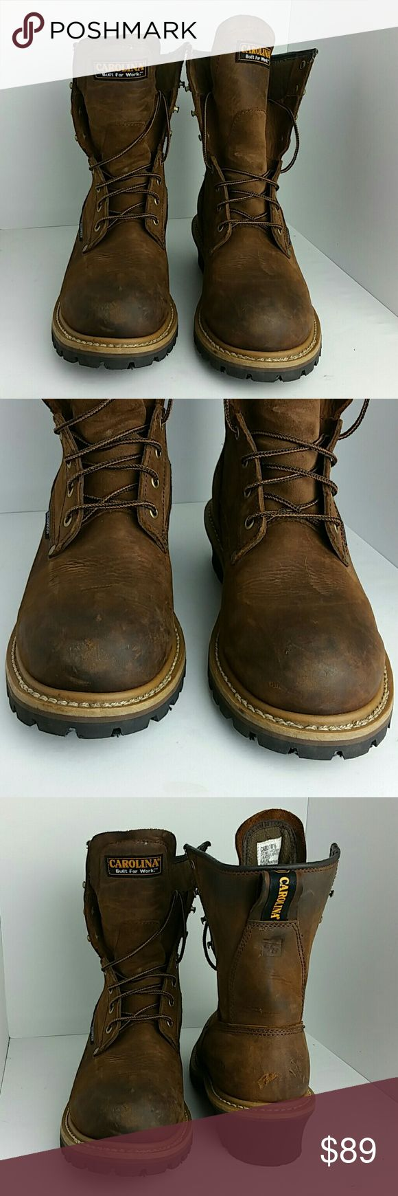 """CAROLINA 8 """" WATERPROOF MEN'S LOGGER BOOT IN GOOD CONDITION WITH MINOR SCRATCHES   SKE # BK Carolina Shoes Boots"""
