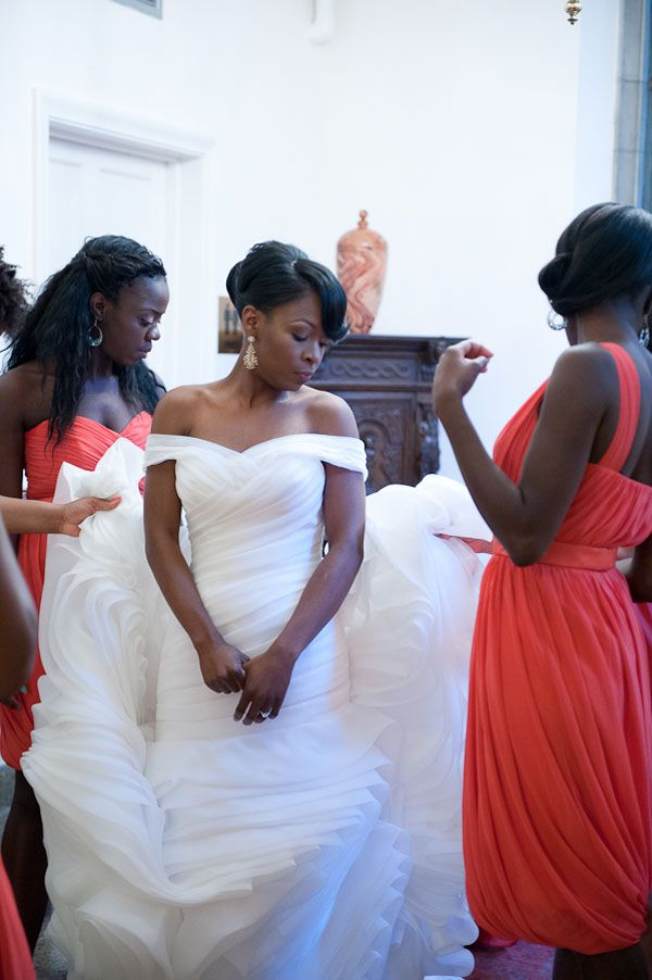 Nigerian and African-American Multicultural Wedding from Paper Heart Weddings; black bride bridesmaids; bride bridesmaids of colour; orange dresses