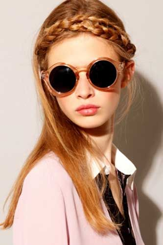 Chic shades and more for Pitchfork: Braids Hairstyles, Sun Glasses, Retro Sunglasses, Brown Round, Braids Style, Hair Style, Crowns Braids, Ray Ban Sunglasses, Round Sunglasses
