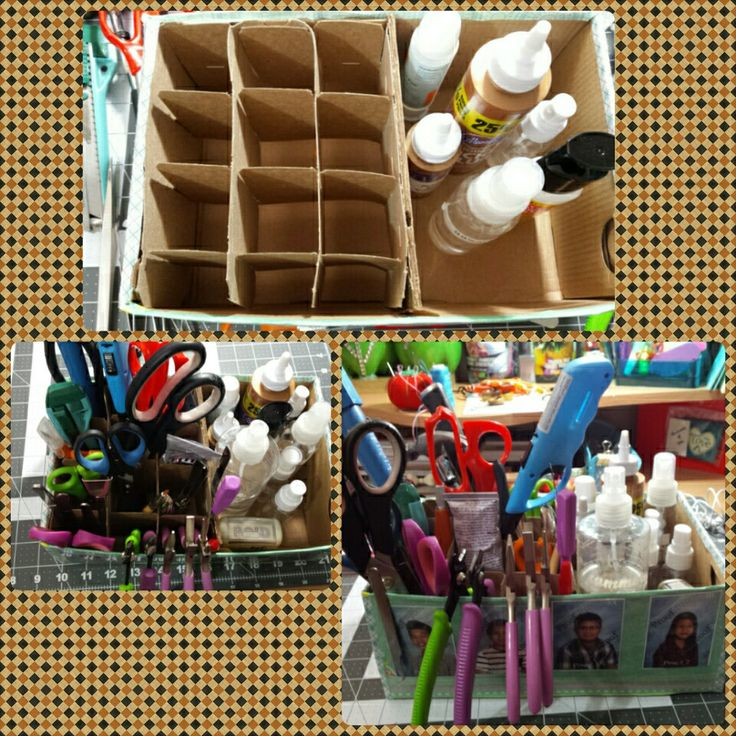 My mini craft tools holder! (Materials) empty shoe box,kids old picture,washi tape,scrapbooking paper and packaging tape to stick the picture and to give a smooth and stronger finished appearance!