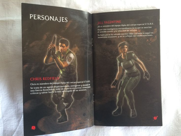 Resident Evil manual page.