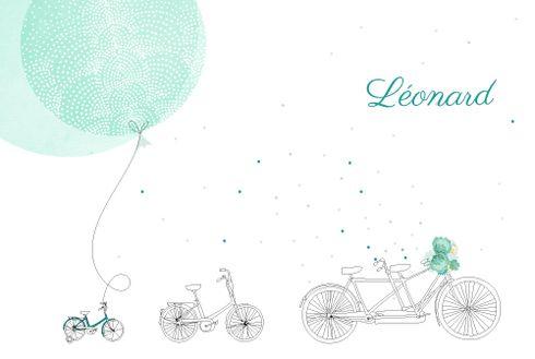 Faire-part de naissance À bicyclette (2 enfants) photos
