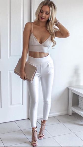 Image of Back it up Wet Look Pant - White