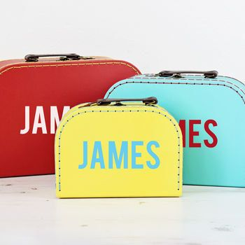 Personalised Retro Suitcase Storage Box Trio  Display Decor