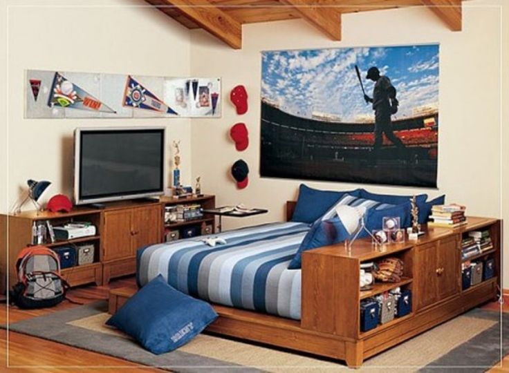 Incredible Baseball Theme White Tween Boys Bedroom Decorating Ideas With Useful Wooden Bed Frame That Have