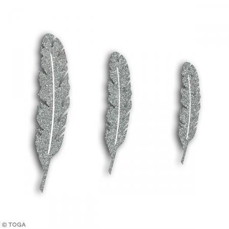 Die cuts Plumas - Plateado purpurina - 12 pcs - Fotografía n°2