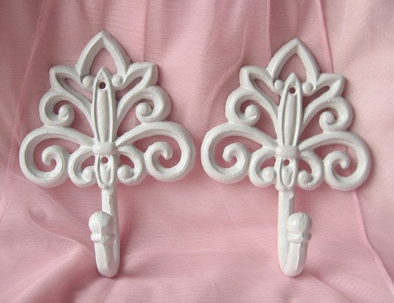 Victorian Cast  Iron Hanger Hook in White  Set of by happybdaytome