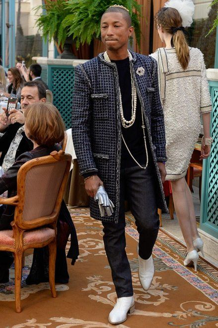 Pharrell at Chanel's Pre-Fall 2017 show.