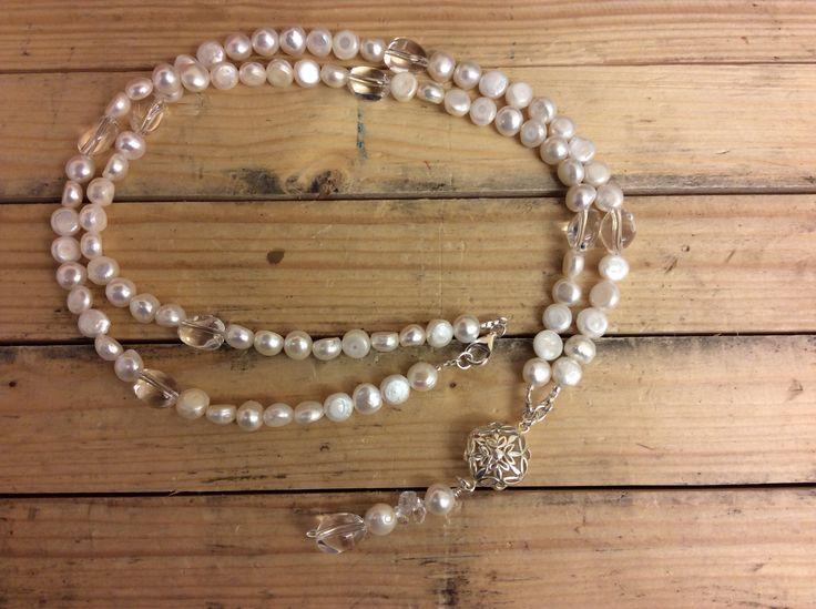 Pearls, chrystal, silver