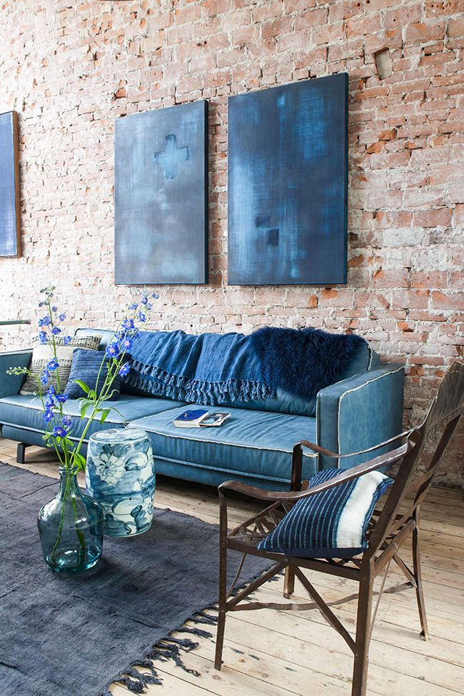 My 'Out of the Blue' Canvas works at Raw Materials Homestore Amsterdam Styling Josephine Macrander