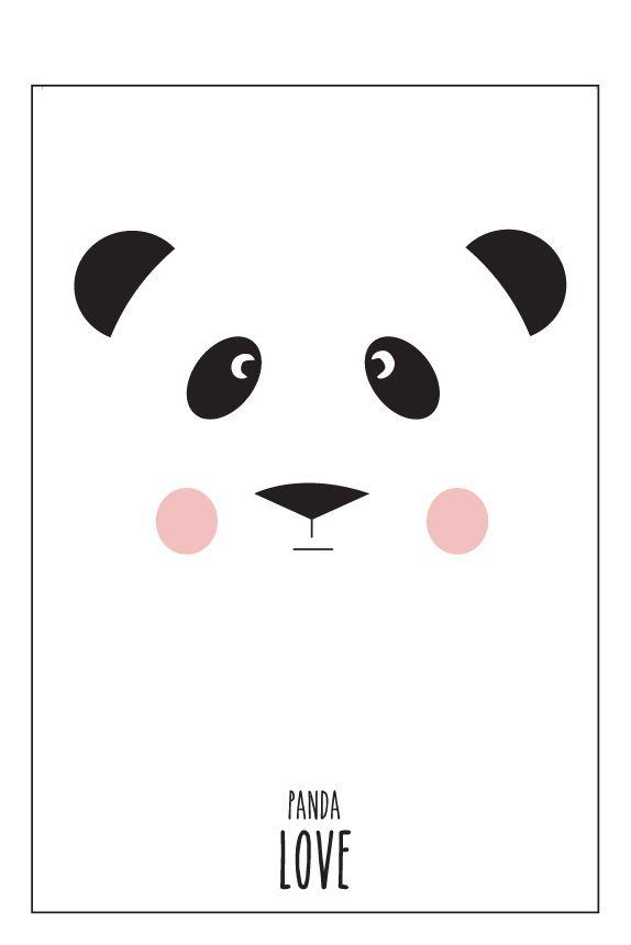 Eef Lillemor Poster - Panda Love - A4 - ZiZo Living - woonaccessoires, stationary en nog veel meer -