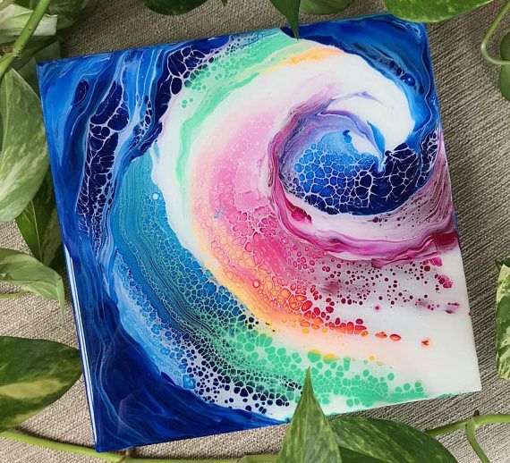 Fluid Abstract fine art by Samantha Carell- original painting. Medium: Acrylic, Resin Size: 8x8x 2 Birch Wood Canvas Included: Letter of Authenticity ________________________________________________________________ Please read the shop policies upon ordering: