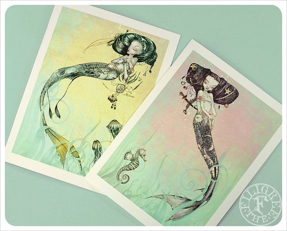 Mermaid Cards - Fantasy Art - Fairy Tale - Yellow Pink Turquoise - Jellyfish - Seahorse - Art Cards - blank cards - Fairy Tale Art on Etsy, $9.00
