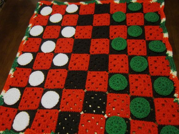 Crocheting Games : Checker Game Crocheted in Christmas Colors by crochetedbycharlene, $39 ...