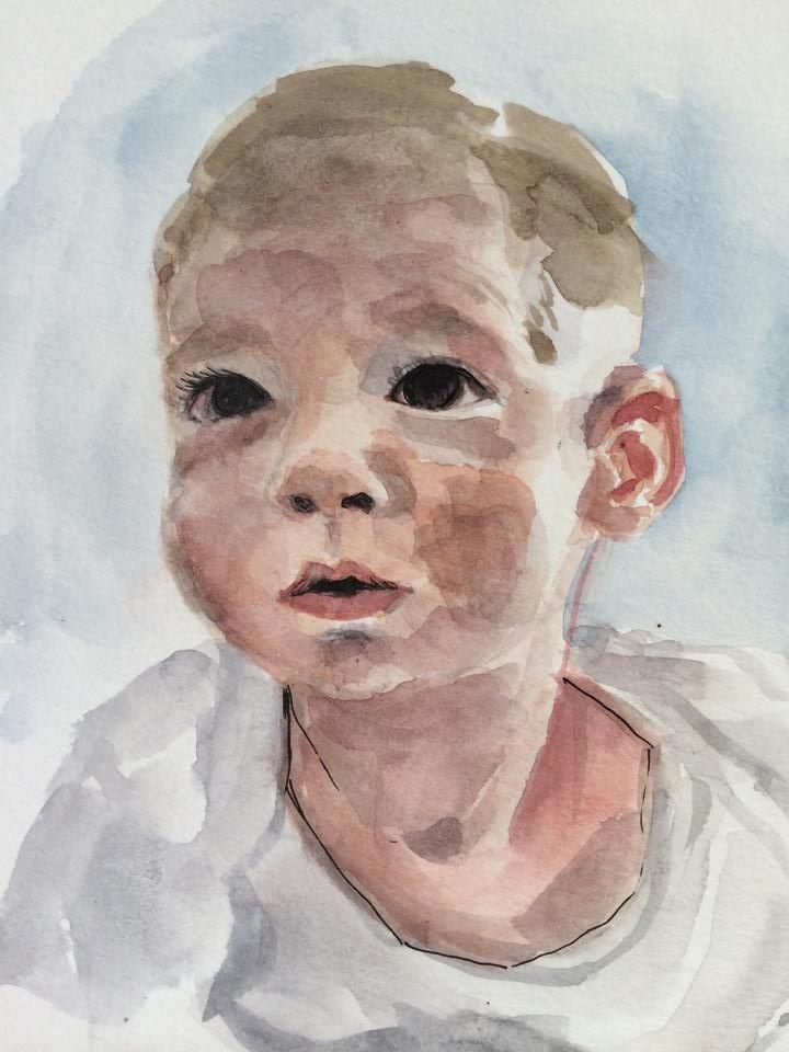 Son Portrait (Watercolor on Paper)