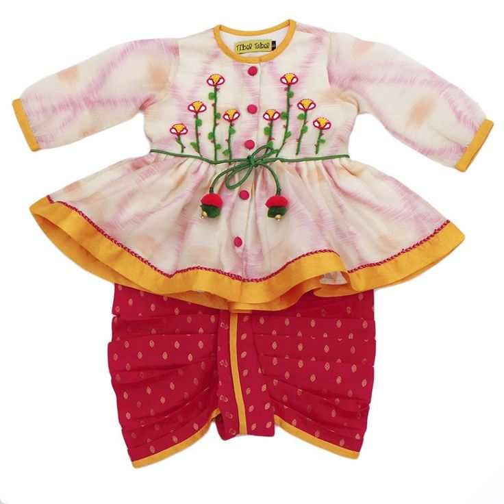 Buy Tiber Taber Girl Angrakha Dhoti Set @ Rs.3250 #Kidsclothes #buyonline #offer #Coupon #free #Curiousvillage #Ludhiana #Delhi