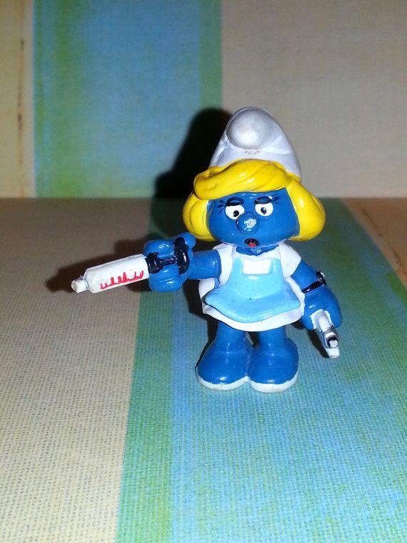 Nurse Smurfett & Doctor Smurf Vintage Figurine by AlphachicsEDEN, $12.99