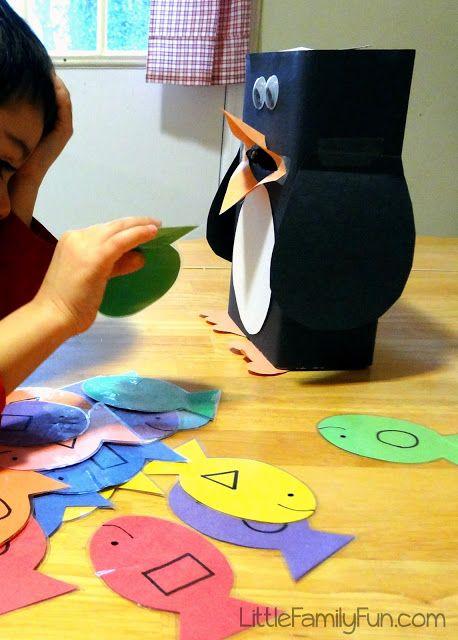 Geef de pinguïn een vis met... Leuk om te spelen met begrippen!