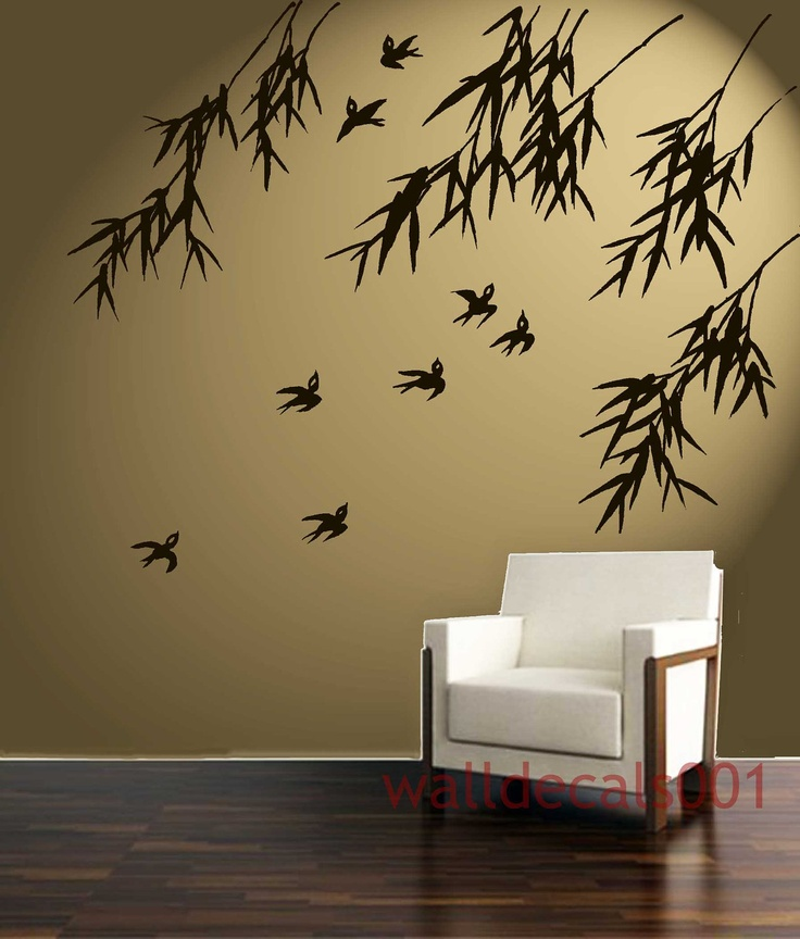 vinyl wall decal wall sticker art birds with bamboo 42 on wall stickers id=75640