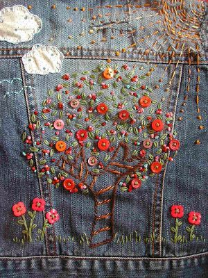 embroidered denim by Cal Patch