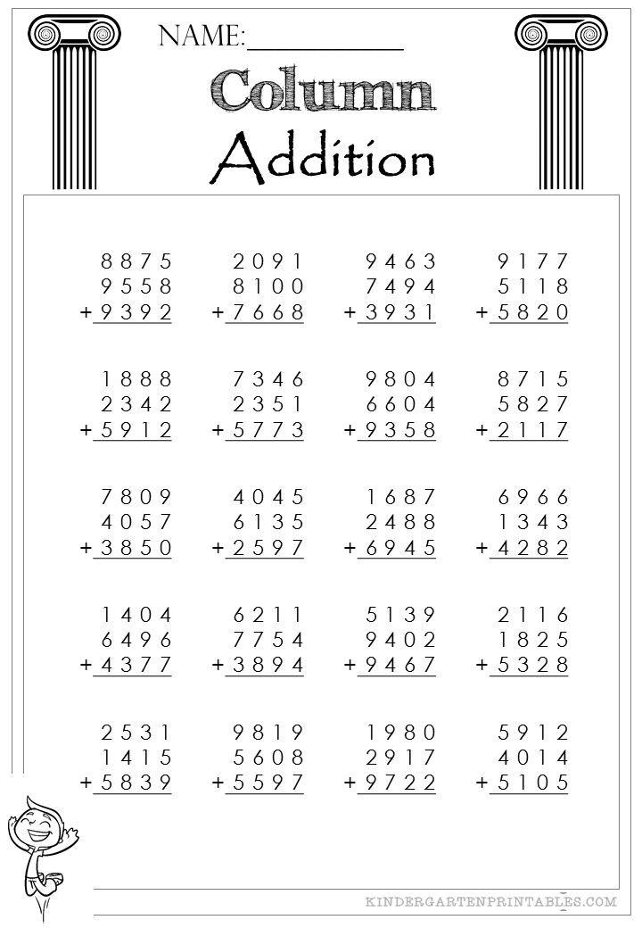 Four Digit Column Addition 3 addends  Column Addition 4 Digit 3 addends