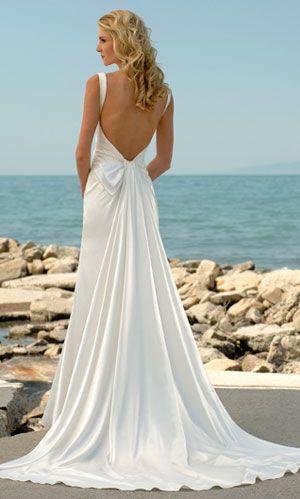 Capecod Beach Wedding Dress With A Scalloped Train