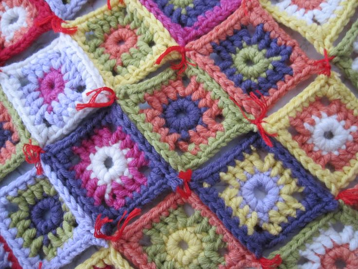 crocheted squares to the yoke of a cardigan