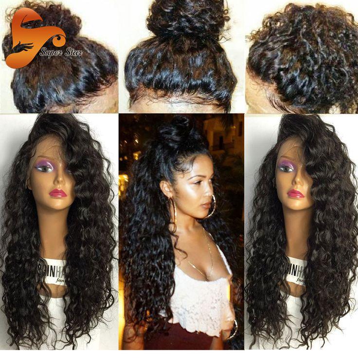 Braziliaanse Full Lace Menselijk Haar Pruiken Met Baby Haar 8A Pre geplukt Haarkant Lijmloze Menselijk Haarkant Zwart vrouwen