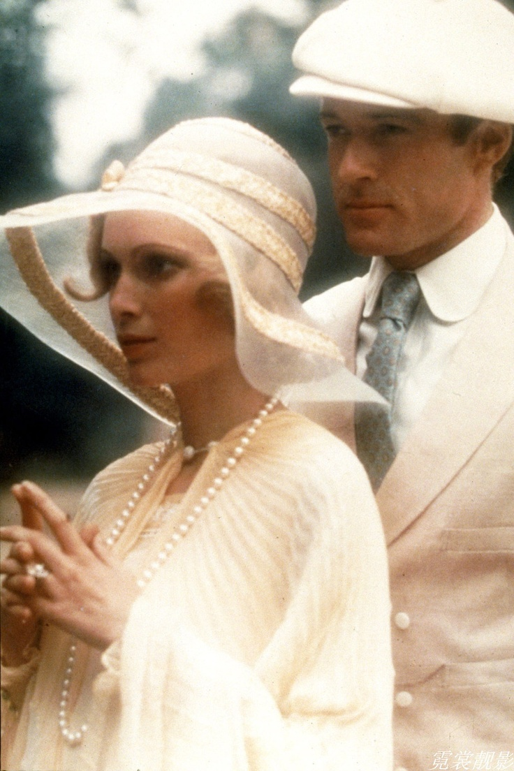 """The Great Gatsby (1974) Robert Redford, Mia Farrow, Bruce Dern, Karen Black, Sam Waterson.    """"Gatsby turned out all right at the end; it is what preyed on him, what foul dust floated in the wake of his dreams that temporarily closed out my interest in the abortive sorrows and short-winded elations of men."""" - F.S. Fitzgerald"""