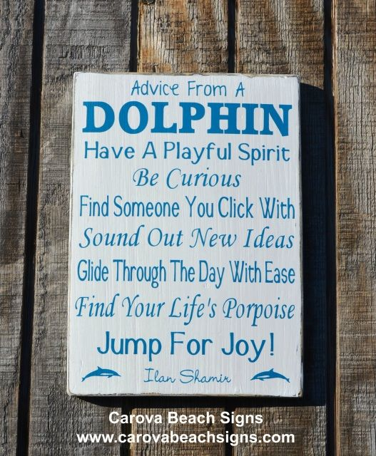 Rustic Beach Decor Dolphin Sign Advice From A Dolphin